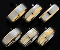 Mens Gold 2-Tone Solid G-5 TITANIUM Band Rings Wedding Engagement New (K41)