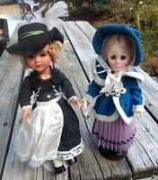 "Dolls Beautifully Sleepy Eyes 12"" European Character Dressed Lot (2) Girls VTG"