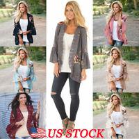 Women's Lady Long Sleeve Lace Floral Kimono Cardigan Blouse Jacket Loose Tops US