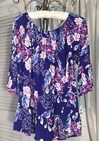 NEW Plus Size 1X Purple Floral Boho Shirt Peasant Top Blouse