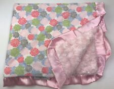 """Minky Couture Baby Blanket Reversible Floral Pink Minky Rosettes Satin 36""""x30"""""""