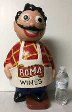 LARGE VTG ROMA WINE CHALKWARE ADVERTISING STATUE DISPLAY WAITER FIGURE