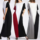 ZANZEA Women Short Sleeve Splice Oversized Full-Length Long Maxi Dress Plus Tops
