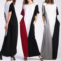 ZANZEA Women Short Sleeve Splice Oversized Full-Length Long Maxi Dress Plus Tops