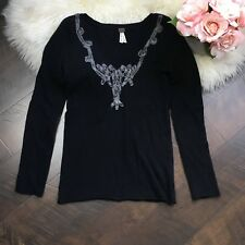 Free People Sweater Black Embroidered V Neck Long Sleeves Women's Size Large