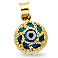Solid 14k Yellow Gold Evil Eye Charm Greek Good Luck Pendant Polished Small