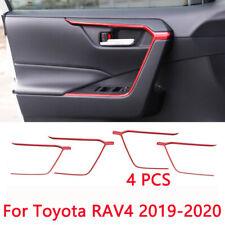 For Toyota RAV4 2019-2020 ABS Red Door Upper Armrest Stripe Cover Trim 4pcs
