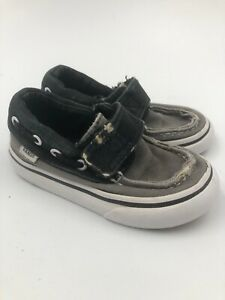Vans Canvas Shoes  Sz 6 Toddler With Hook And Loop Closure Black/gray BOYS