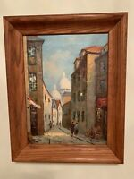 Vintage Mid-Century Italian Oil on Canvas Signed in Wood Frame Free Shipping