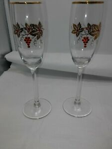 Crystal grapes with Gold Rim and Leaves Champagne Glasses Toasting Wedding