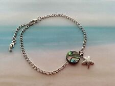 ABALONE SHELL BEAD STARFISH SEAHORSE CHARM CHAIN BEACH WEAR ANKLET JEWELLERY