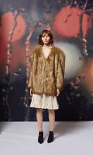Topshop Faux Fur Chubby Coat - Cream Brown - Size 0-2 / XS / 32-34EUR