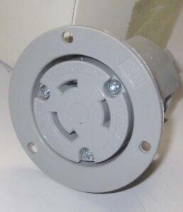Locking Flanged Outlet 30A 250V 3PH 3P 3W Gray NEMA L11-30R AH6396