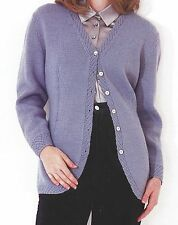 LADIES EASY FAST KNIT DOUBLE KNIT V NECK CARDIGAN KNITTING PATTERN 32/38 (1279)
