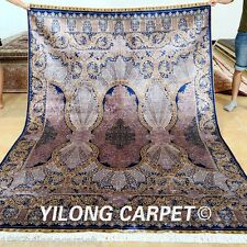 Yilong 6'x9' Hand Knotted Purple Silk Carpets Classic Antistatic Area Rug 0737