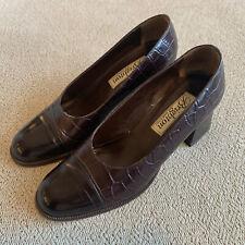 Brighton Women's Chestnut Brown Croc Heel Pump Shoe Size 7.5M With Box