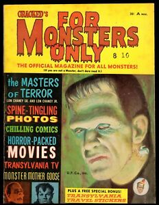 FOR MONSTERS ONLY #1 FINE  (LON CHANEY SR) 1965 CRACKED