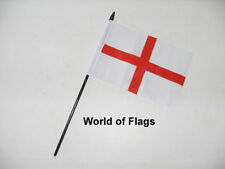 "ST GEORGE CROSS SMALL HAND WAVING FLAG 6"" x 4"" England Georges Day Table Desk"