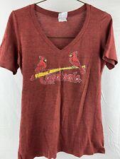 St Louis Cardinals Baseball MLB V-Neck Women's T-Shirt Size L