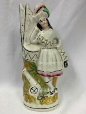 """Victorian Staffordshire Flatback Figure Of Soldier With Drum & Cannon H10 1/4"""""""