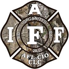 "The 4"" IAFF Union OCP Woodland moss Vinyl Firefighter Us Made Window Decal"