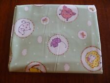 Remnant Cotton Fabric Green with Funky Sheep Pig Cat Mouse Dog - Half Meter