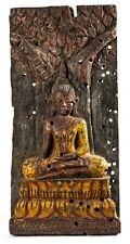 """Antique Thai Style Wood Seated Enlightenment Buddha Panel - 51cm/20"""""""