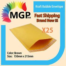 25 x Brown Kraft Bubble Padded Envelope Mailer Bags 150mm x 215mm+40 lip