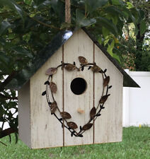 Wood Bird House Hanging Garden Birdhouse Nest Outdoor Indoor Metal Rustic Decor