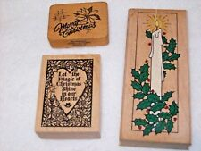 Christmas Candle Rubber Stamps, Christmas Heart Rubber Stamp