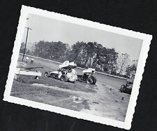 Old Vintage Antique Photograph Group of Racecars on the Track - Accident?