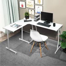 Scrivania Angolare PortaPc Tavolo Computer Lavoro Ufficio ad Angolo Vetro Bianco