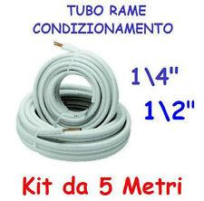 """TUBO RAME CONDIZIONATORE CLIMATIZZATORE CONDIZIONAMENTO 1/4"""" + 1/2"""" KIT METRI 5"""