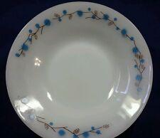 3 Termocrisa Milk Glass Bowls White w Blue Brown Floral Vine Pinecones Flowers
