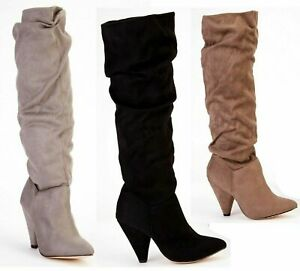 Ladies Women Ruched Slouch High Heels Under Knee High Riding Boots Sizes UK 4-8