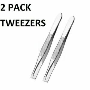 2X STRONG STAINLESS STEEL TWEEZERS PROFESSIONAL EYEBROW FACIAL HAIR PLUCK REMOVE