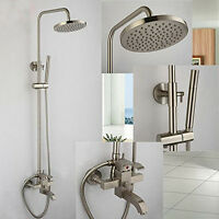 Brushed Nickel Bathroom Shower Faucet Set Wall Mounted Tub Mixer Tap Hand Shower