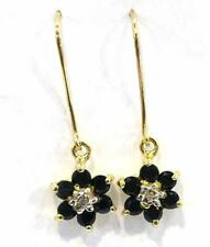 10KT YELLOW GOLD NATURAL BLACK SAPPHIRE & DIAMOND PLUM BLOSSOM EARRINGS    E855