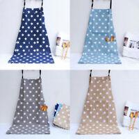 Stars Apron with Pocket Cotton Linen Ladies Kitchen Apron Bib Apron Cooking