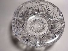 Decorative Unusual Gorgeous Engraved Crystal Ashtray or Candy Dish Bowl