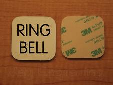 Engraved 2x2 Beige RING BELL Plastic Tag Sign Plate Doorbell Plate Door Plaque