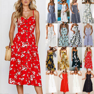 UK BOHO Womens Ladies Summer Beach Midi Dress Holiday Strappy Button Sun Dresses