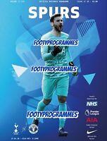 Tottenham Hotspur v Manchester United Premier League Programme 19/20 Free Post