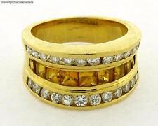 Vintage 18k Yellow Gold Yellow Sapphire Diamond Ring