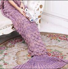 Mermaid Tail Handmade Crocheted Cocoon Sofa Beach Quilt Rug Knit Lapghan Blanket