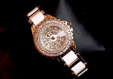 Luxury Womens Ceramics Band Rose Gold Full Diamond Studded Face Quartz Watches