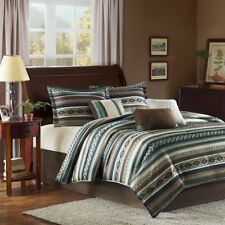 Southwest Comforter Set Queen Size Turquoise Native American 7 Piece Bedding New