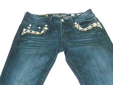 Miss Me Mid-Rise Skinny Jeans Size 26 x 30 Jeweled Dark Wash Style MP724952