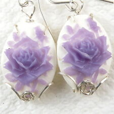 Purple Rose Cameo Dangle Hook  Earrings .925 Sterling Silver Jewelry Resin