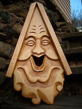 Unique Smiley Bird House Rustic Hand Carved Happy Face Wood Spirit 16""